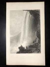After Thomas Allom 1860 Antique Print. The Horse Shoe Fall, Niagara Falls Canada